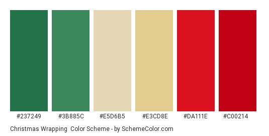 Christmas Wrapping - Color scheme palette thumbnail - #237249 #3b885c #e5d6b5 #e3cd8e #da111e #c00214