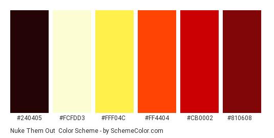 Nuke Them Out - Color scheme palette thumbnail - #240405 #FCFDD3 #FFF04C #FF4404 #CB0002 #810608