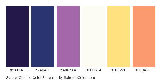 Sunset Clouds - Color scheme palette thumbnail - #241848 #2a346e #a367aa #fcfbf4 #fde27f #fb9a6f