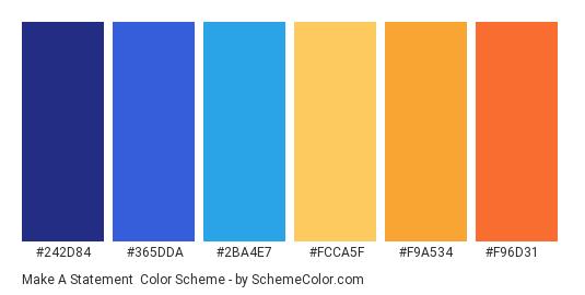 Make a Statement - Color scheme palette thumbnail - #242d84 #365dda #2ba4e7 #fcca5f #f9a534 #f96d31