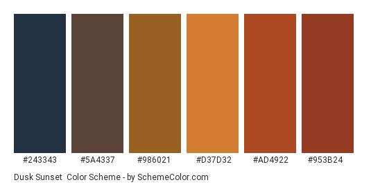 Dusk Sunset - Color scheme palette thumbnail - #243343 #5a4337 #986021 #d37d32 #ad4922 #953b24