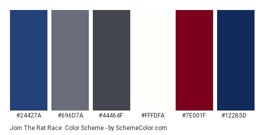 Join the Rat Race - Color scheme palette thumbnail - #24427a #696d7a #44464f #fffdfa #7e001f #122b5d