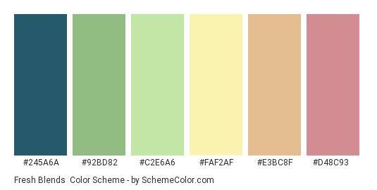 Fresh Blends - Color scheme palette thumbnail - #245A6A #92BD82 #C2E6A6 #FAF2AF #E3BC8F #D48C93