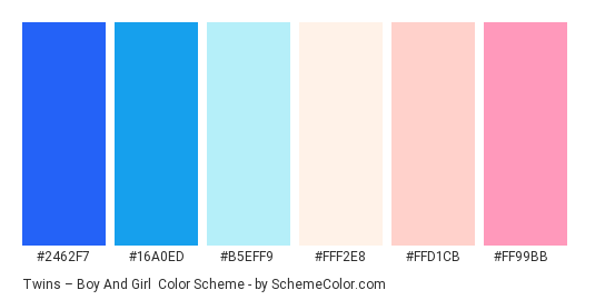 Twins – Boy and Girl - Color scheme palette thumbnail - #2462f7 #16a0ed #b5eff9 #fff2e8 #ffd1cb #ff99bb