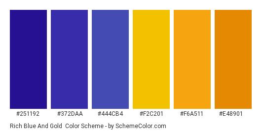 Rich Blue and Gold - Color scheme palette thumbnail - #251192 #372daa #444cb4 #f2c201 #f6a511 #e48901