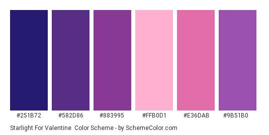 Starlight for Valentine - Color scheme palette thumbnail - #251B72 #582D86 #883995 #FFB0D1 #E36DAB #9B51B0