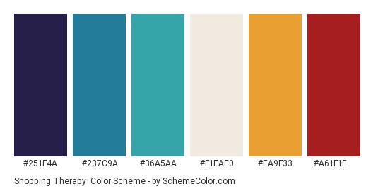 Shopping Therapy - Color scheme palette thumbnail - #251F4A #237C9A #36A5AA #F1EAE0 #EA9F33 #A61F1E