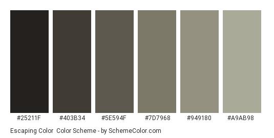 Escaping Color - Color scheme palette thumbnail - #25211f #403b34 #5e594f #7d7968 #949180 #a9ab98