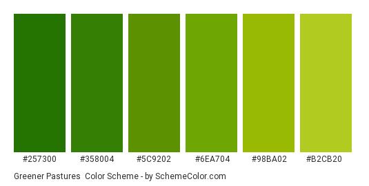 Greener Pastures - Color scheme palette thumbnail - #257300 #358004 #5c9202 #6ea704 #98ba02 #b2cb20