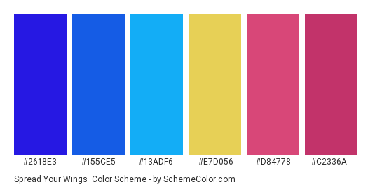 Spread your Wings - Color scheme palette thumbnail - #2618E3 #155CE5 #13ADF6 #E7D056 #D84778 #C2336A