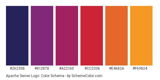 Apache Server Logo - Color scheme palette thumbnail - #26235b #812878 #a22160 #cc2336 #e4682a #f69824