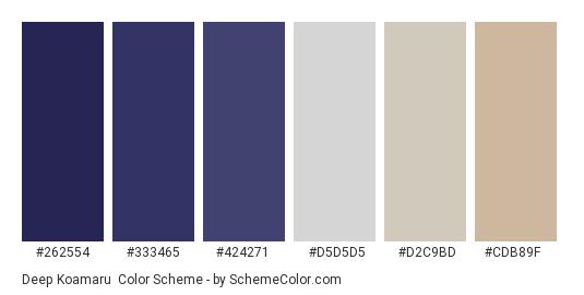 Deep Koamaru - Color scheme palette thumbnail - #262554 #333465 #424271 #d5d5d5 #d2c9bd #cdb89f