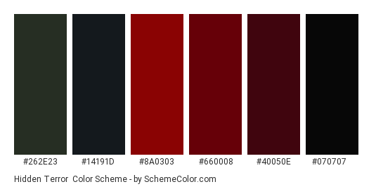 Hidden Terror - Color scheme palette thumbnail - #262e23 #14191d #8a0303 #660008 #40050e #070707