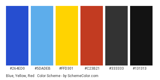 Blue, Yellow, Red & Black - Color scheme palette thumbnail - #264ED0 #5DADEB #FFD301 #C23B21 #333333 #131313