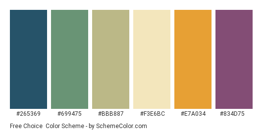 Free Choice - Color scheme palette thumbnail - #265369 #699475 #bbb887 #f3e6bc #e7a034 #834d75