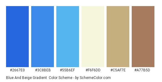 Blue and Beige Gradient - Color scheme palette thumbnail - #2667e0 #3c8beb #55b6ef #f6f6dd #c5af7e #a77b5d