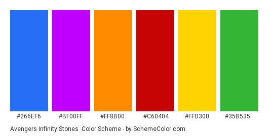 Avengers Infinity Stones - Color scheme palette thumbnail - #266EF6 #BF00FF #FF8B00 #C60404 #FFD300 #35B535