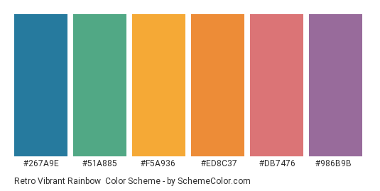Retro Vibrant Rainbow - Color scheme palette thumbnail - #267A9E #51A885 #F5A936 #ED8C37 #DB7476 #986b9b