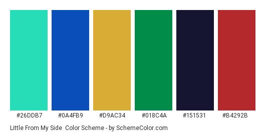 Little From My Side - Color scheme palette thumbnail - #26ddb7 #0a4fb9 #d9ac34 #018c4a #151531 #b4292b
