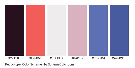 Retro Hope - Color scheme palette thumbnail - #27111e #f25d59 #eeeced #dab1be #5d70b4 #475b9e