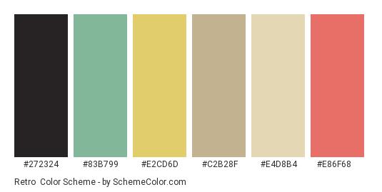 Retro - Color scheme palette thumbnail - #272324 #83b799 #e2cd6d #c2b28f #e4d8b4 #e86f68