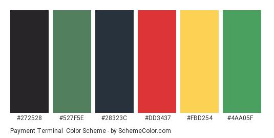 Payment Terminal - Color scheme palette thumbnail - #272528 #527F5E #28323C #DD3437 #FBD254 #4AA05F