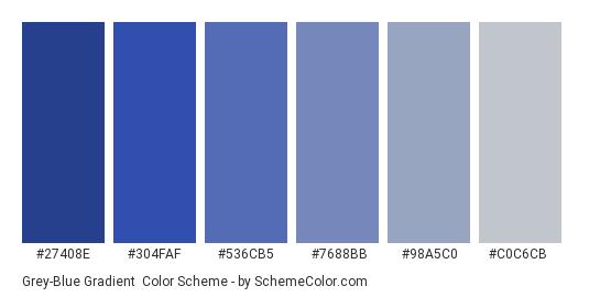 Grey-Blue Gradient - Color scheme palette thumbnail - #27408E #304FAF #536CB5 #7688BB #98A5C0 #C0C6CB