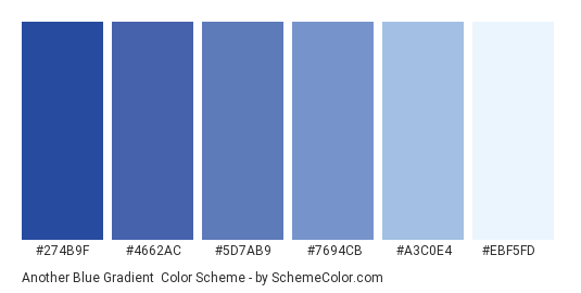 Another Blue Gradient - Color scheme palette thumbnail - #274b9f #4662ac #5d7ab9 #7694cb #a3c0e4 #ebf5fd