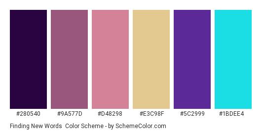 Finding New Words - Color scheme palette thumbnail - #280540 #9a577d #d48298 #e3c98f #5c2999 #1bdee4
