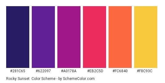 Rocky Sunset - Color scheme palette thumbnail - #281c65 #622097 #a0178a #eb2c5d #fc6840 #f8c93c