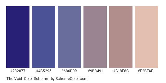 The Void - Color scheme palette thumbnail - #282077 #4b5295 #686d9b #9b8491 #b18e8c #e2bfae