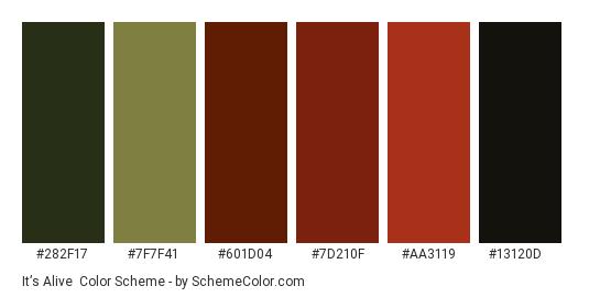 It's Alive - Color scheme palette thumbnail - #282f17 #7f7f41 #601d04 #7d210f #aa3119 #13120d