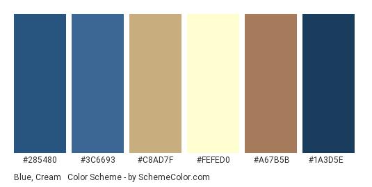 Blue, Cream & Beige - Color scheme palette thumbnail - #285480 #3c6693 #c8ad7f #FeFeD0 #a67b5b #1a3d5e