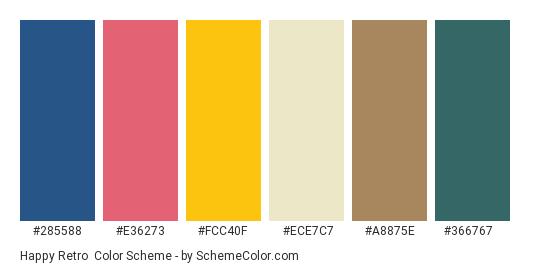 Happy Retro - Color scheme palette thumbnail - #285588 #e36273 #fcc40f #ece7c7 #a8875e #366767