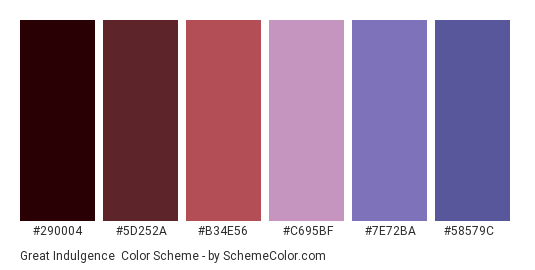 Great Indulgence - Color scheme palette thumbnail - #290004 #5d252a #b34e56 #c695bf #7E72BA #58579C