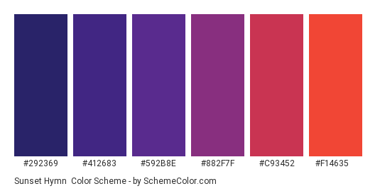 Sunset Hymn - Color scheme palette thumbnail - #292369 #412683 #592B8E #882F7F #C93452 #F14635