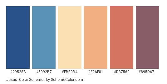 Jesus - Color scheme palette thumbnail - #29528b #5992b7 #fbe0b4 #f2af81 #d37560 #895d67