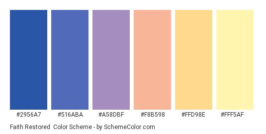 Faith Restored - Color scheme palette thumbnail - #2956A7 #516ABA #A58DBF #F8B598 #FFD98E #FFF5AF