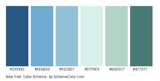 New York - Color scheme palette thumbnail - #295982 #6fabd0 #92c0d7 #d7f0e9 #b0d5c7 #477977