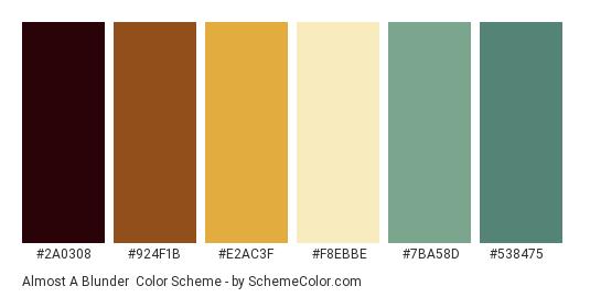 Almost a Blunder - Color scheme palette thumbnail - #2A0308 #924F1B #E2AC3F #F8EBBE #7BA58D #538475