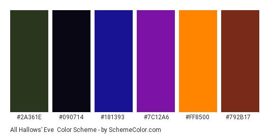 All Hallows' Eve - Color scheme palette thumbnail - #2A361E #090714 #181393 #7C12A6 #FF8500 #792B17