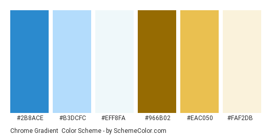 Chrome Gradient - Color scheme palette thumbnail - #2B8ACE #B3DCFC #EFF8FA #966B02 #EAC050 #FAF2DB