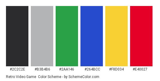 Retro Video Game - Color scheme palette thumbnail - #2C2C2E #B3B4B6 #2aa146 #264bcc #F8D034 #E40027