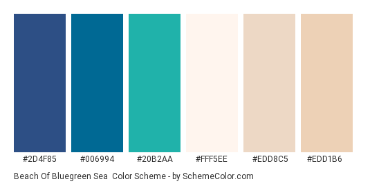 Beach of Bluegreen Sea - Color scheme palette thumbnail - #2D4F85 #006994 #20B2AA #FFF5EE #EDD8C5 #EDD1B6