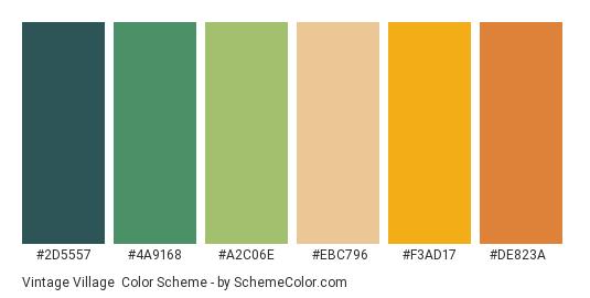 Vintage Village - Color scheme palette thumbnail - #2D5557 #4A9168 #A2C06E #EBC796 #F3AD17 #DE823A