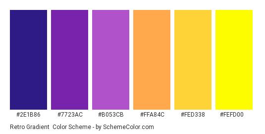 Retro Gradient - Color scheme palette thumbnail - #2E1B86 #7723AC #B053CB #FFA84C #FED338 #FEFD00
