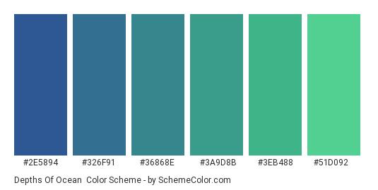 Depths of Ocean - Color scheme palette thumbnail - #2E5894 #326F91 #36868E #3A9D8B #3EB488 #51D092