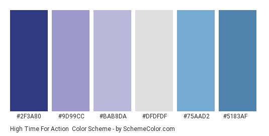 High Time for Action - Color scheme palette thumbnail - #2F3A80 #9D99CC #bab8da #dfdfdf #75AAD2 #5183AF