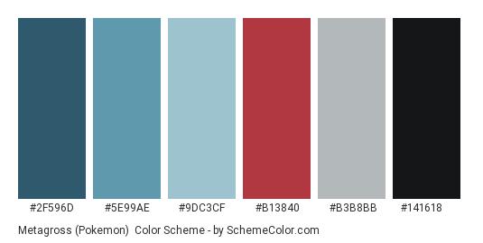 Metagross (Pokemon) - Color scheme palette thumbnail - #2F596D #5E99AE #9DC3CF #B13840 #B3B8BB #141618
