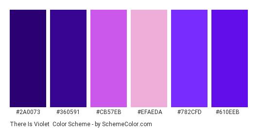There is Violet - Color scheme palette thumbnail - #2a0073 #360591 #cb57eb #efaeda #782cfd #610eeb